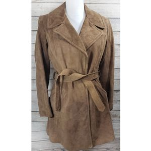 Vintage Brown Suede Leather Trench Coat